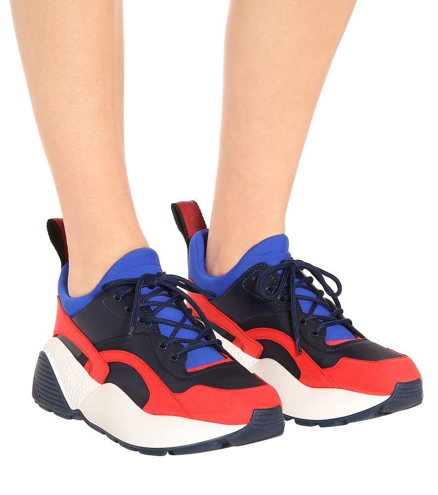 Stella Mccartney Eclypse Faux Leather, Faux Suede And Neoprene Sneakers In Red