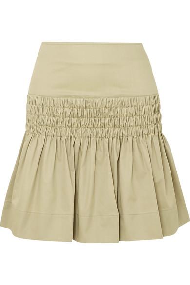 79b9694c0014 Etoile Isabel Marant Isabel Marant ÉToile - Oliko Smocked Cotton Poplin  Skirt - Womens - Beige