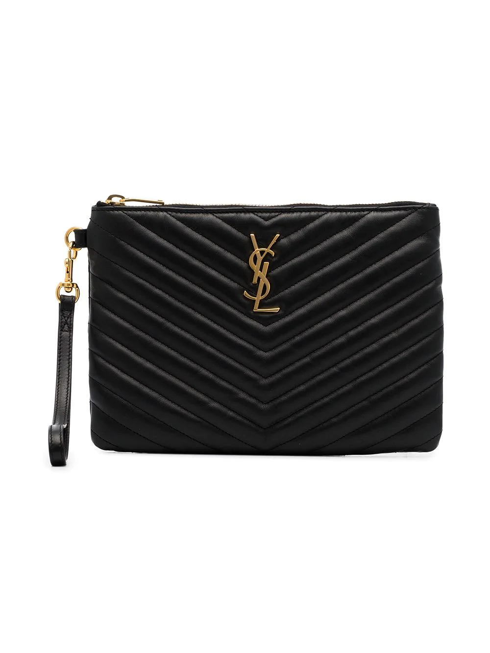 0e814533b311 Saint Laurent Monogram Ysl Small Chevron Quilted Zip-Top Pouch Bag - Golden  Hardware In