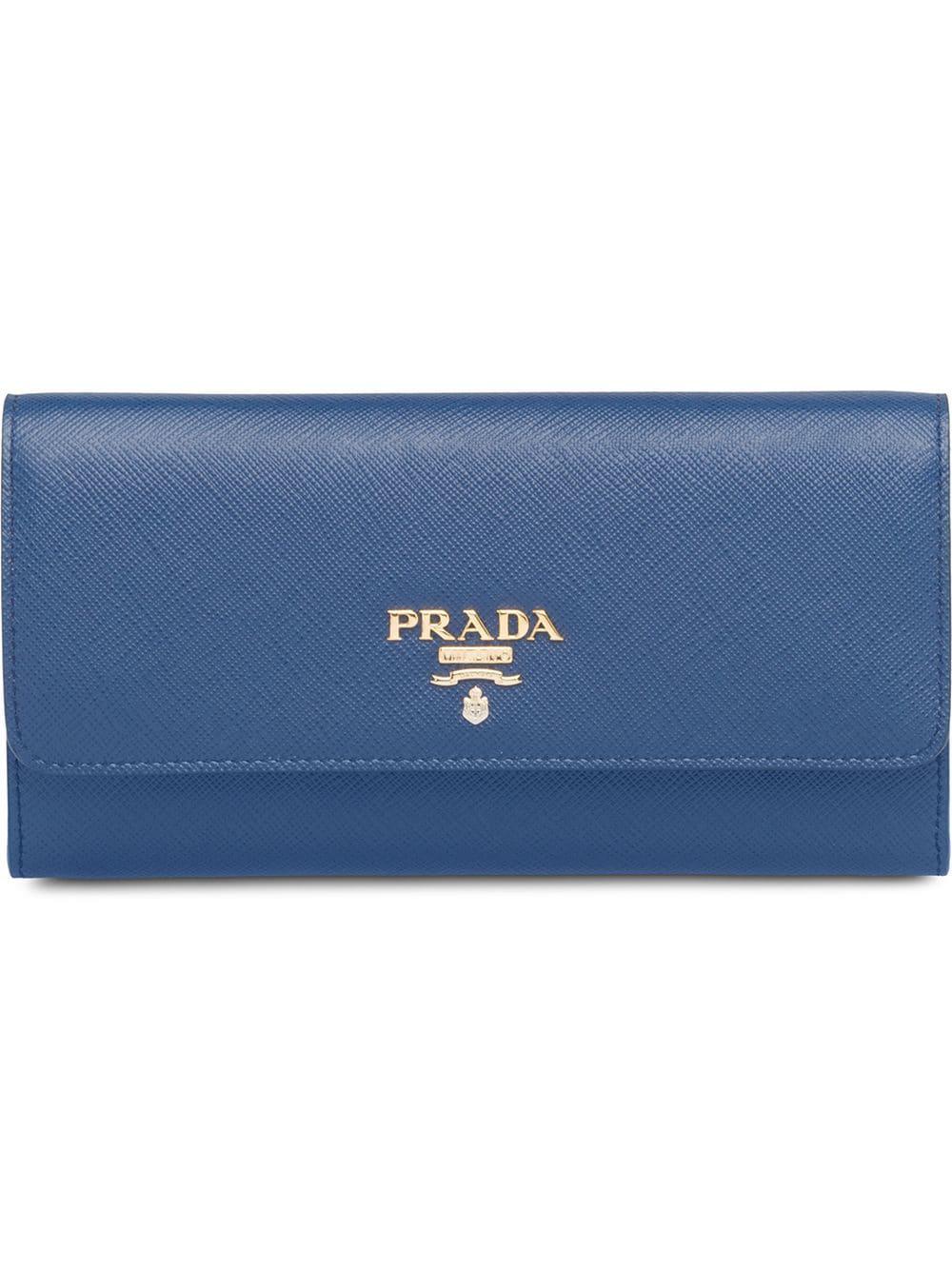 bed65b1e592a Prada Logo Plaque Credit Card Wallet - Blue   ModeSens