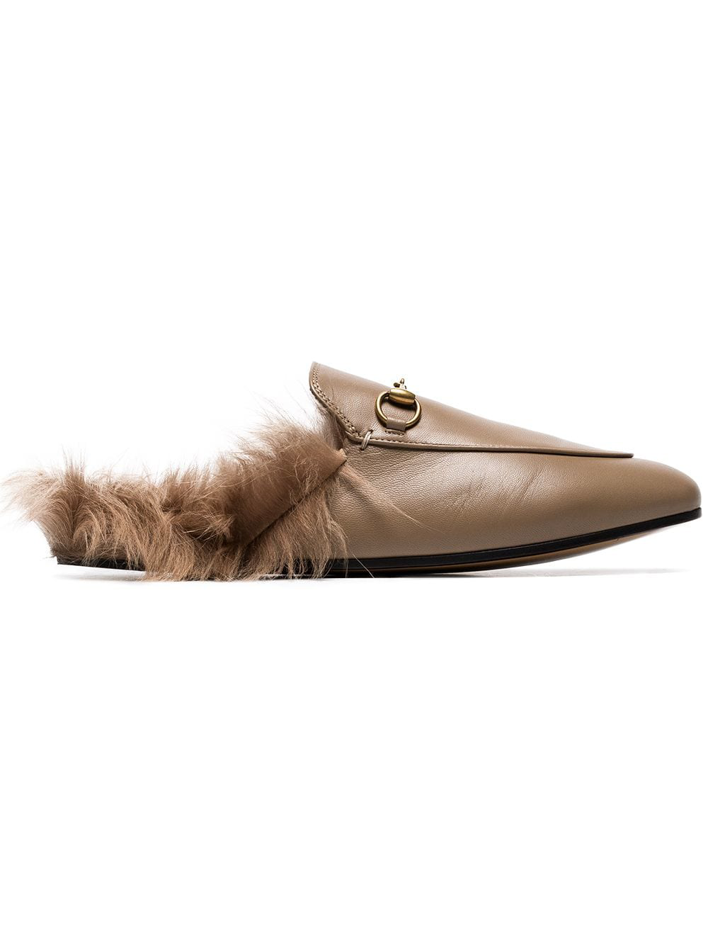 ac5eebac110 Gucci Beige Princetown Flat Leather And Shearling Slippers - Brown ...