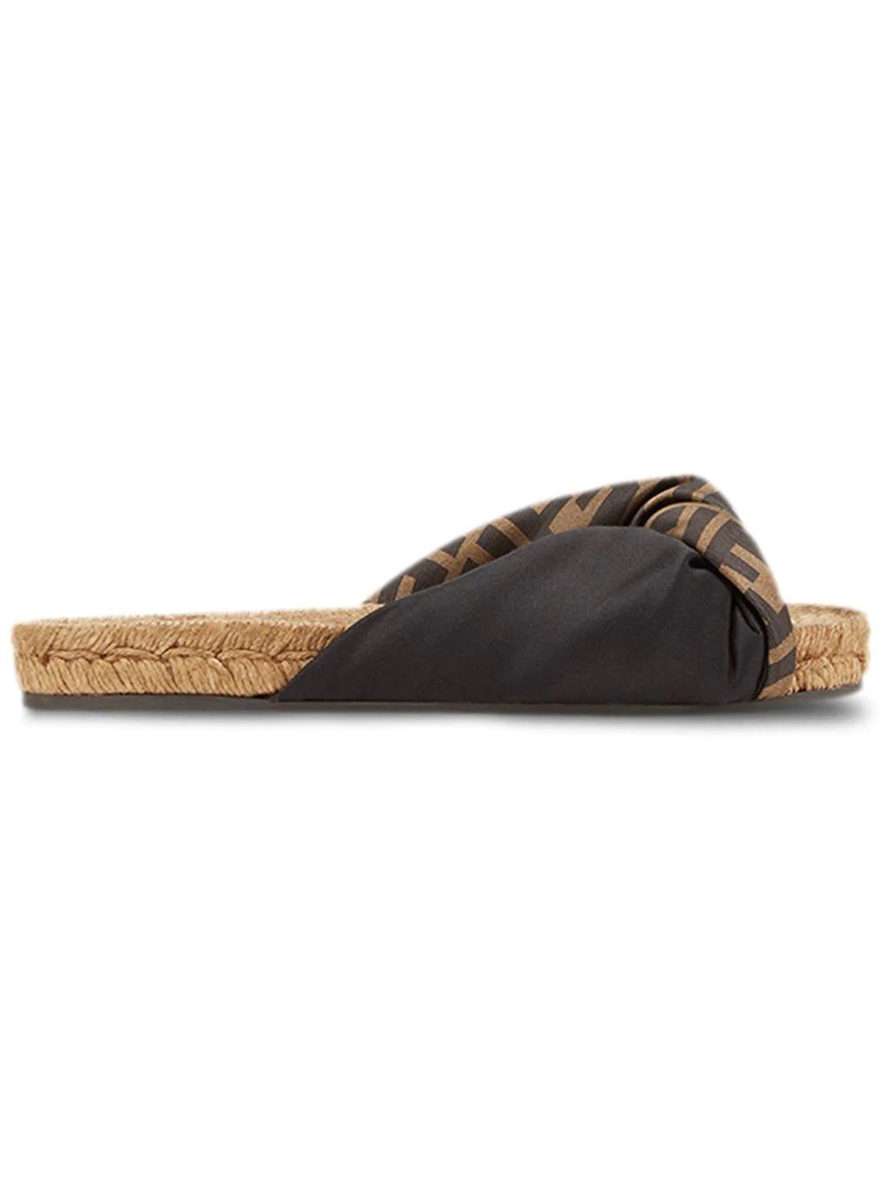 fd3bf823 Twisted Satin Espadrille Slide Sandals in Black