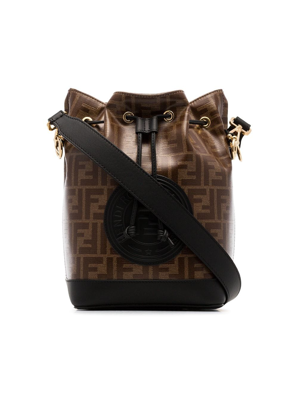 e127cccbec7d8 Fendi Black And Brown Mon Tresor Canvas And Leather Bucket Bag ...
