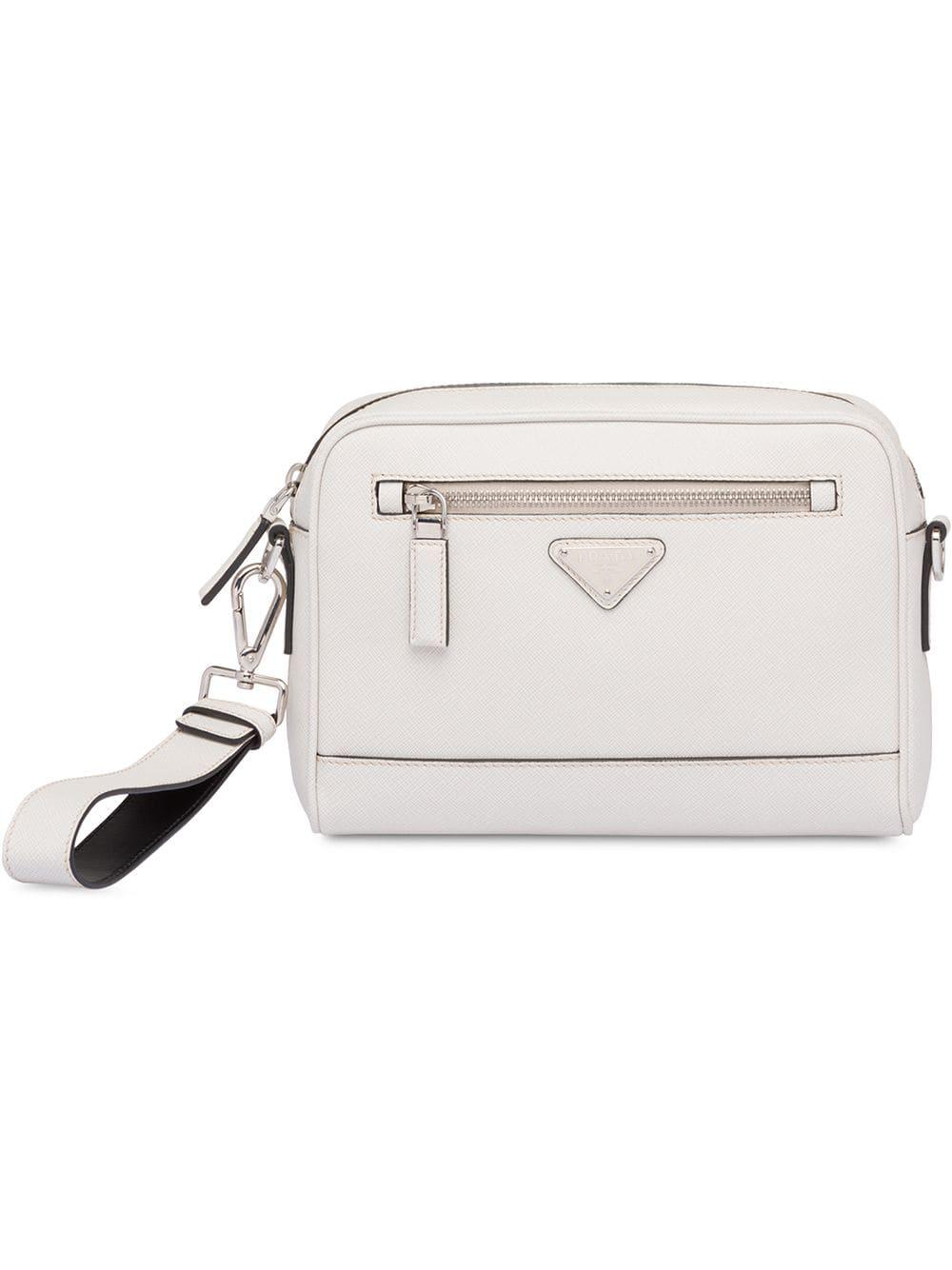 a3720f3728bc00 Prada Saffiano Leather Shoulder Bag - White | ModeSens