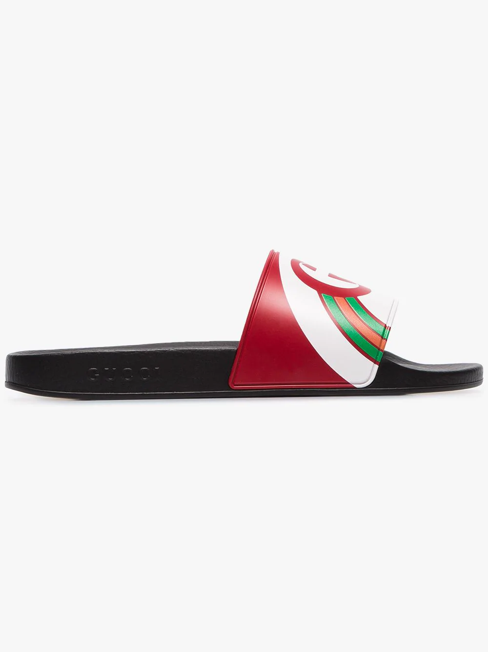 8b4be721891a Gucci Men s Interlocking G Rainbow Rubber Slide Sandals In Red ...