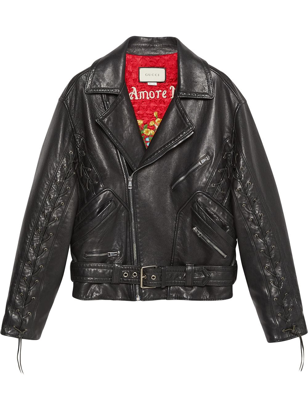 af58c33c4287 Gucci Oversized Hand-Painted Soft-Leather Biker Jacket In Black ...