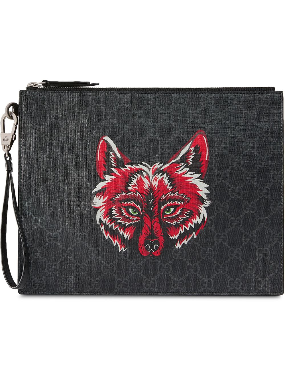 b1be33dc7d4 Gucci Gg Supreme Pouch With Wolf - Black
