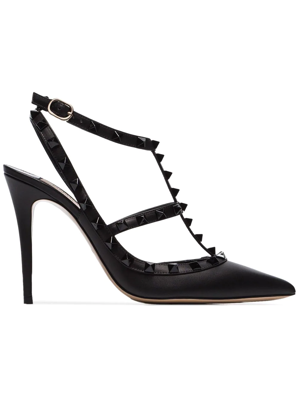 10a6d3497 Valentino Rockstud Ankle Strap Pump With Tonal Studs 100 Mm In Black ...