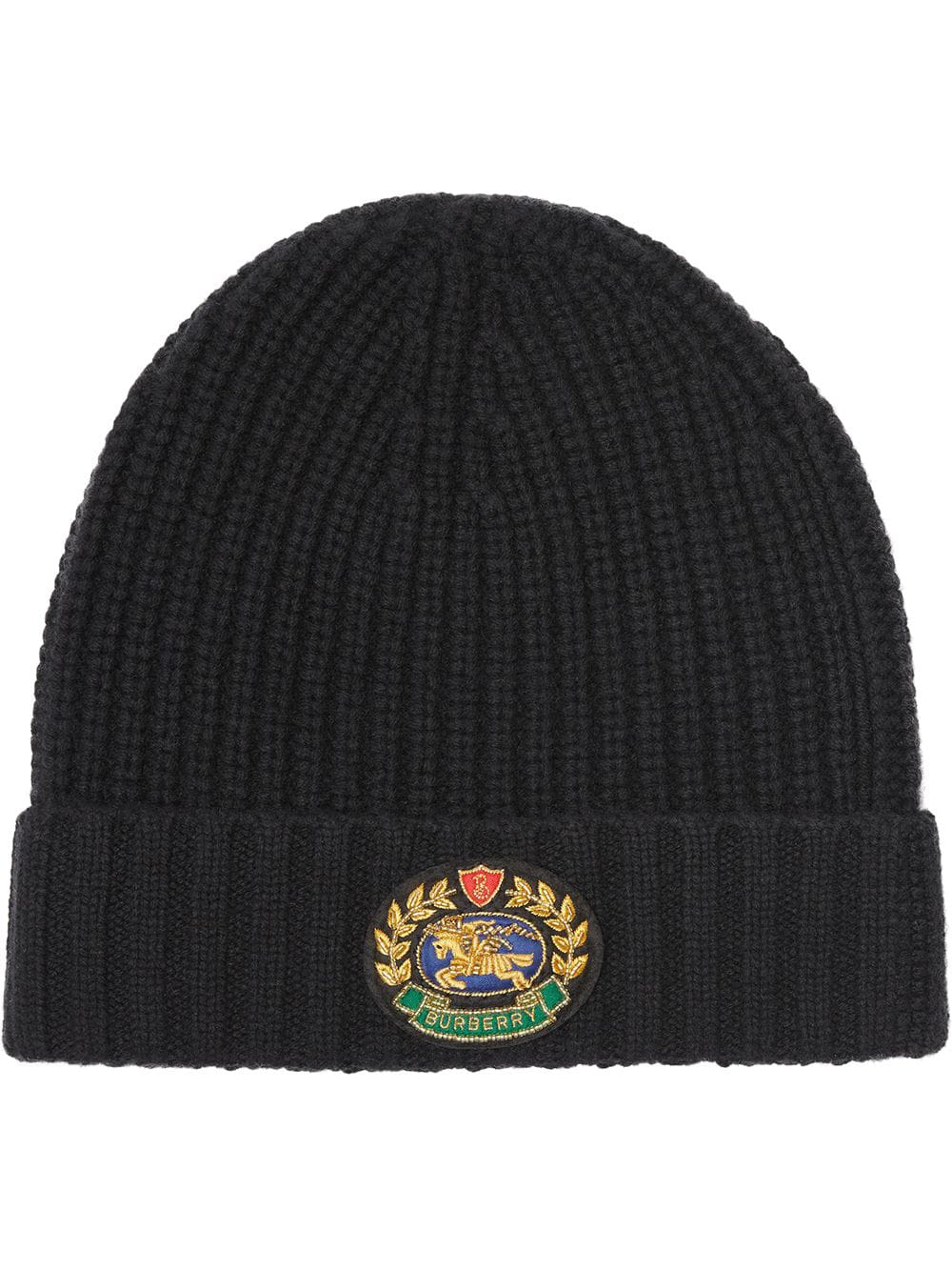 f6e40f4d792c9 Burberry Embroidered Crest Rib Knit Wool Cashmere Beanie - Black ...