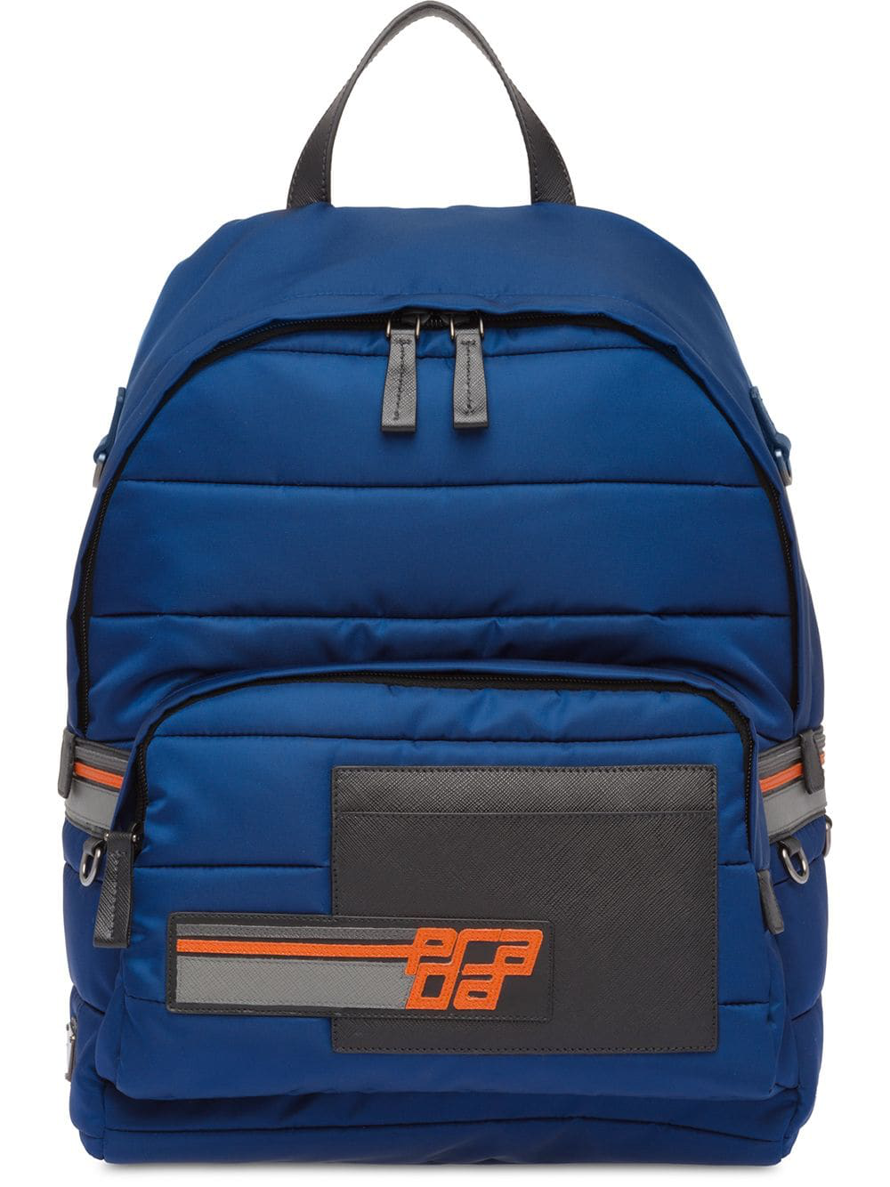 0eb7eef979f920 Prada Nylon And Saffiano Leather Backpack - Blue | ModeSens