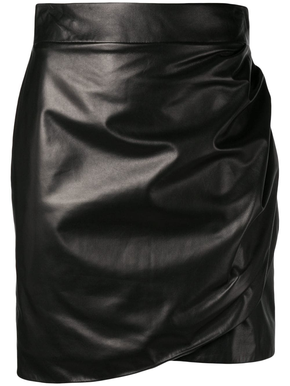 de0fe42752 Versace High Waisted Leather Wrap Skirt In Black | ModeSens