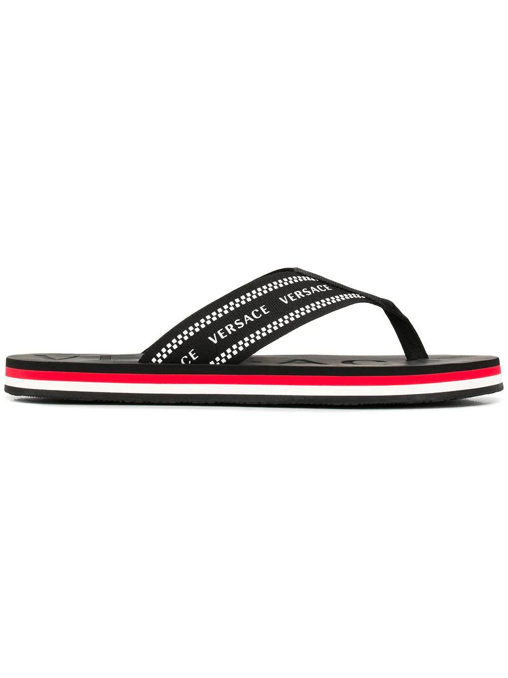 f0e29abaa385 Versace Logo-Jacquard Webbing And Rubber Flip Flops - Black