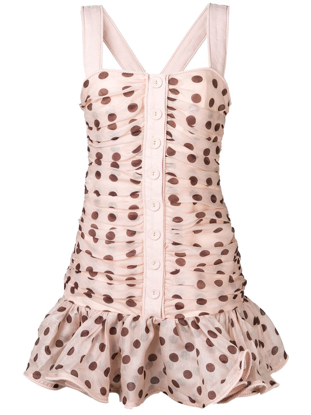 1f4ec70a2ab Zimmermann Corsage Polka-Dot Linen-Blend Mini Dress In Tan Cocoa Dot ...