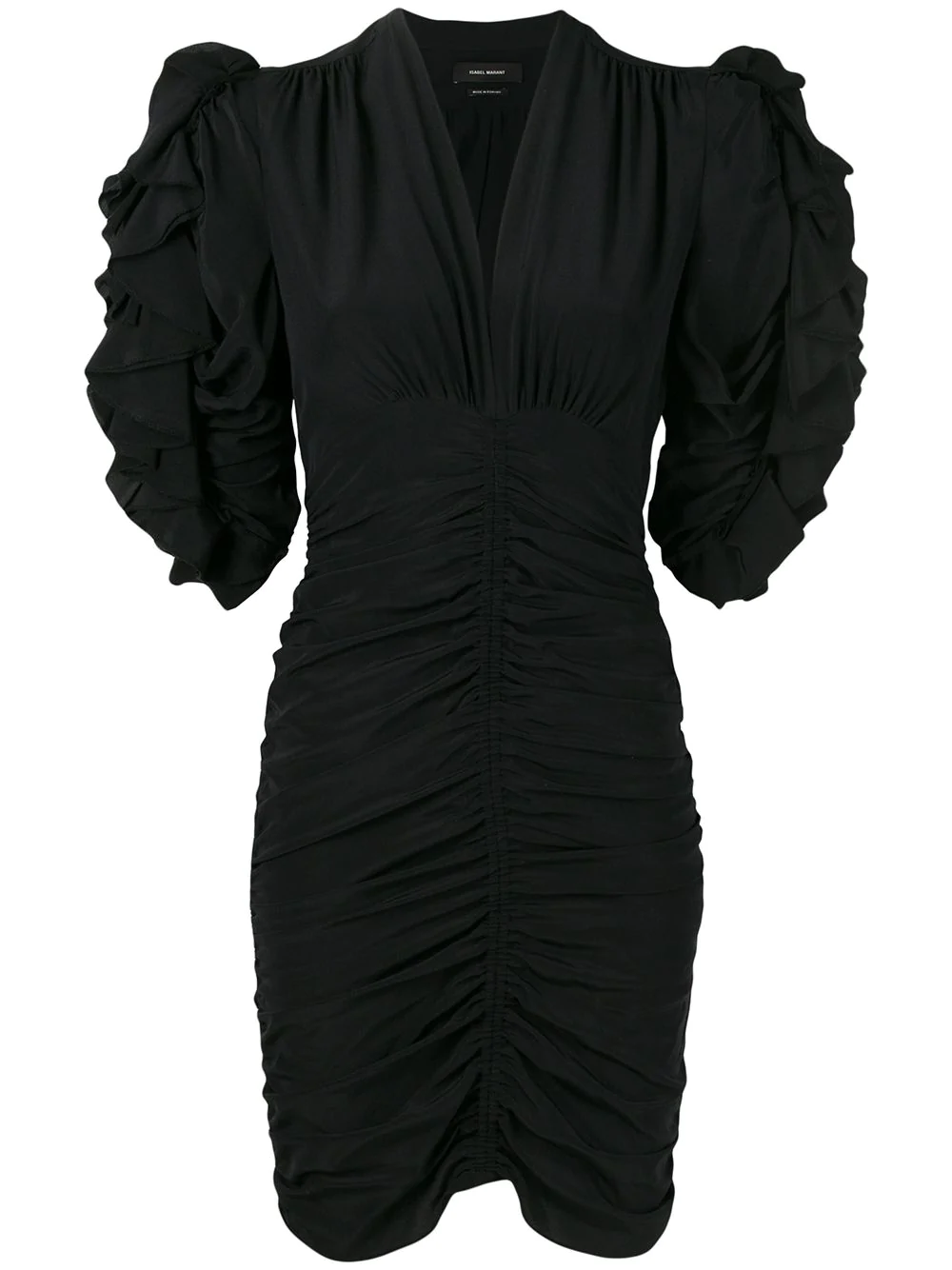 9d14f55d Isabel Marant Ruched Ruffle Sleeve Stretch Silk Body-Con Dress In Black