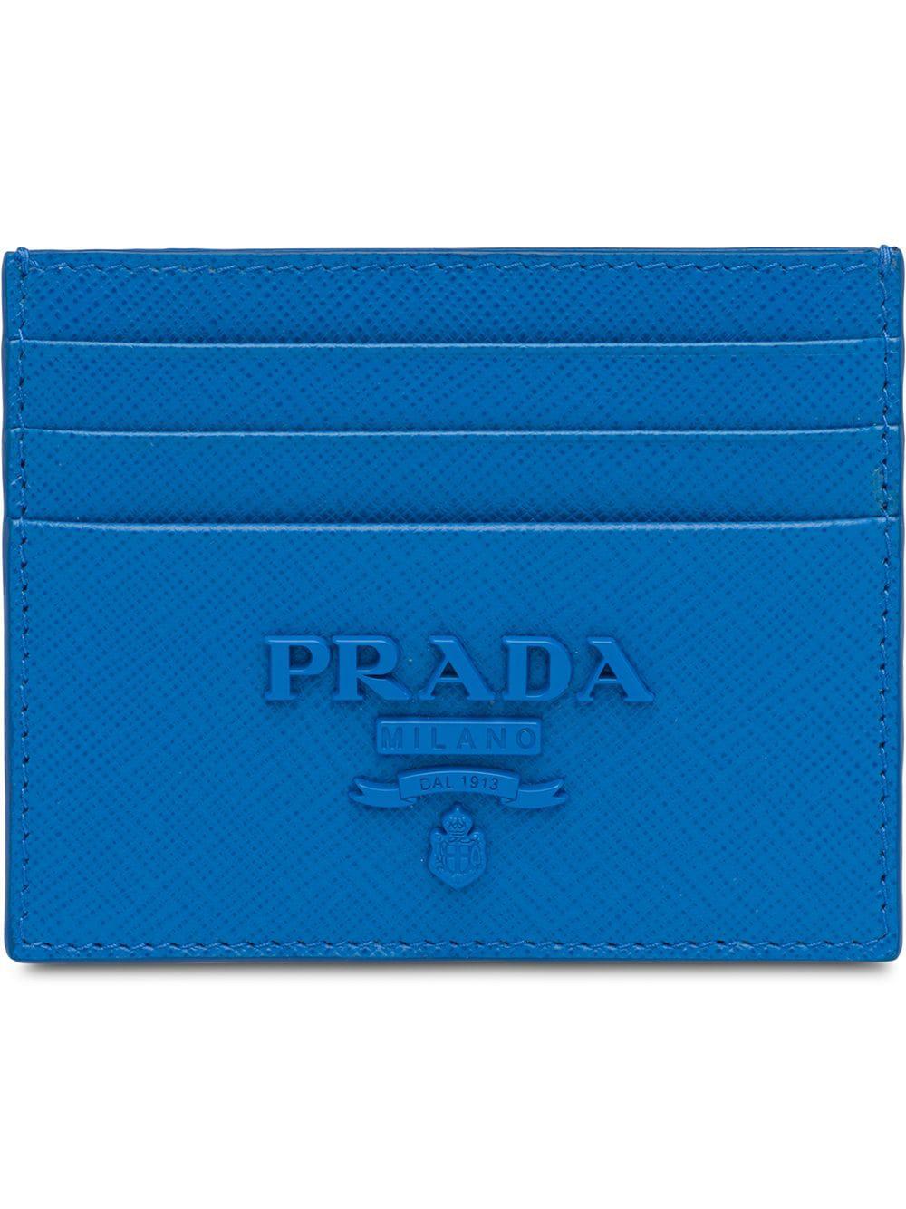8b10daf6f8fa Prada Saffiano Leather Card Holder - Blue   ModeSens