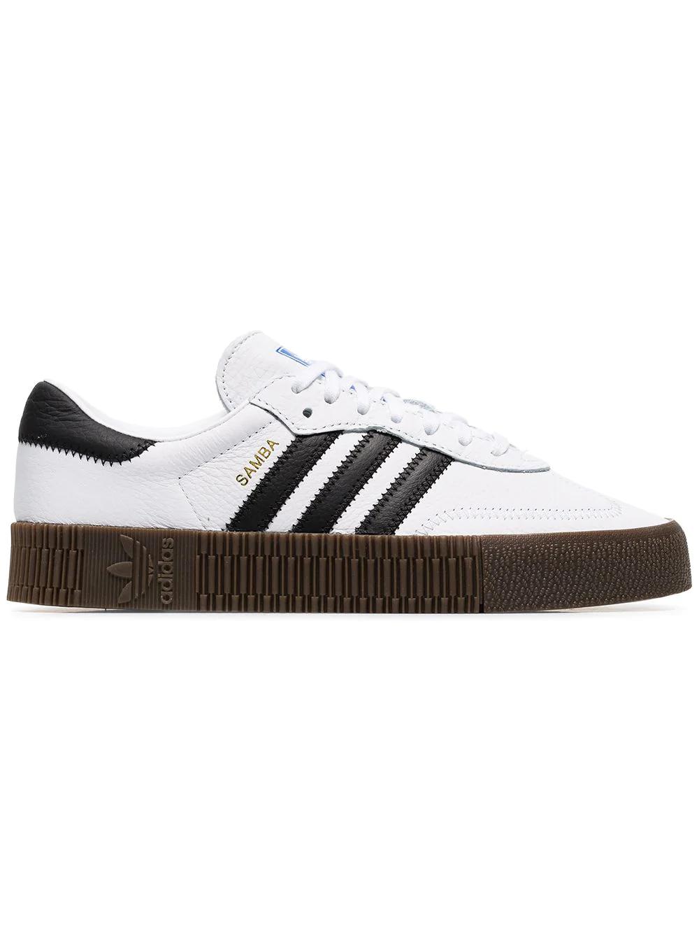 d4ab7932068319 Adidas Originals Adidas White Sambarose Leather Sneakers