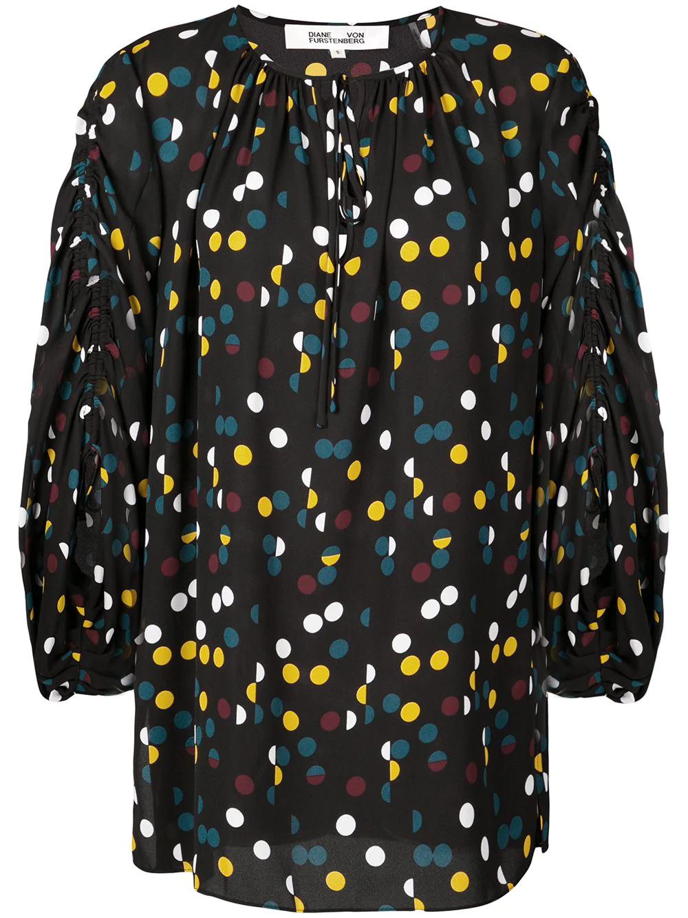 0698a9121f8317 Diane Von Furstenberg Dvf Polka Dot Blouse - Black   ModeSens