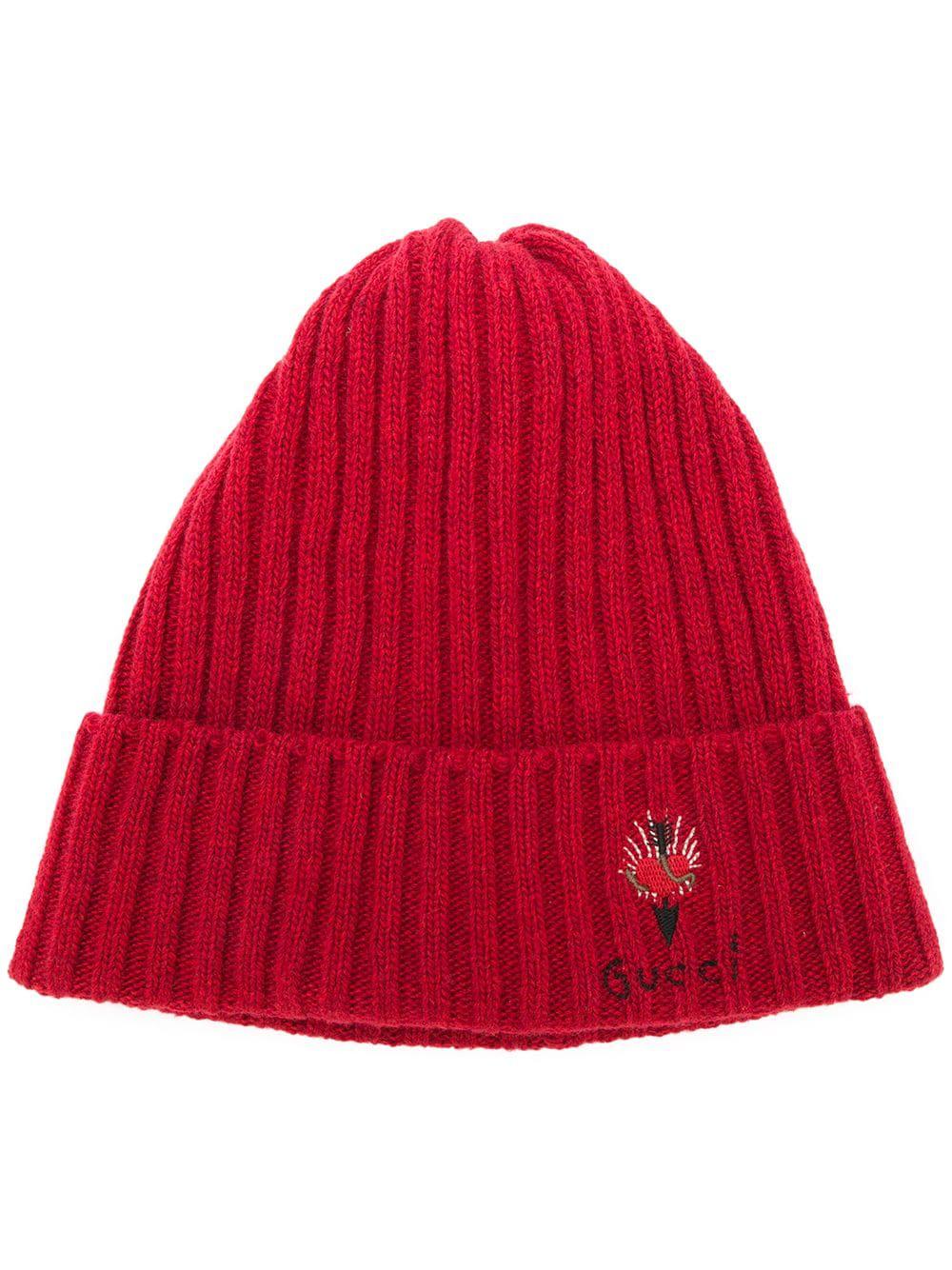 10c93bd6 Gucci Pierced Heart Beanie Hat - Red | ModeSens