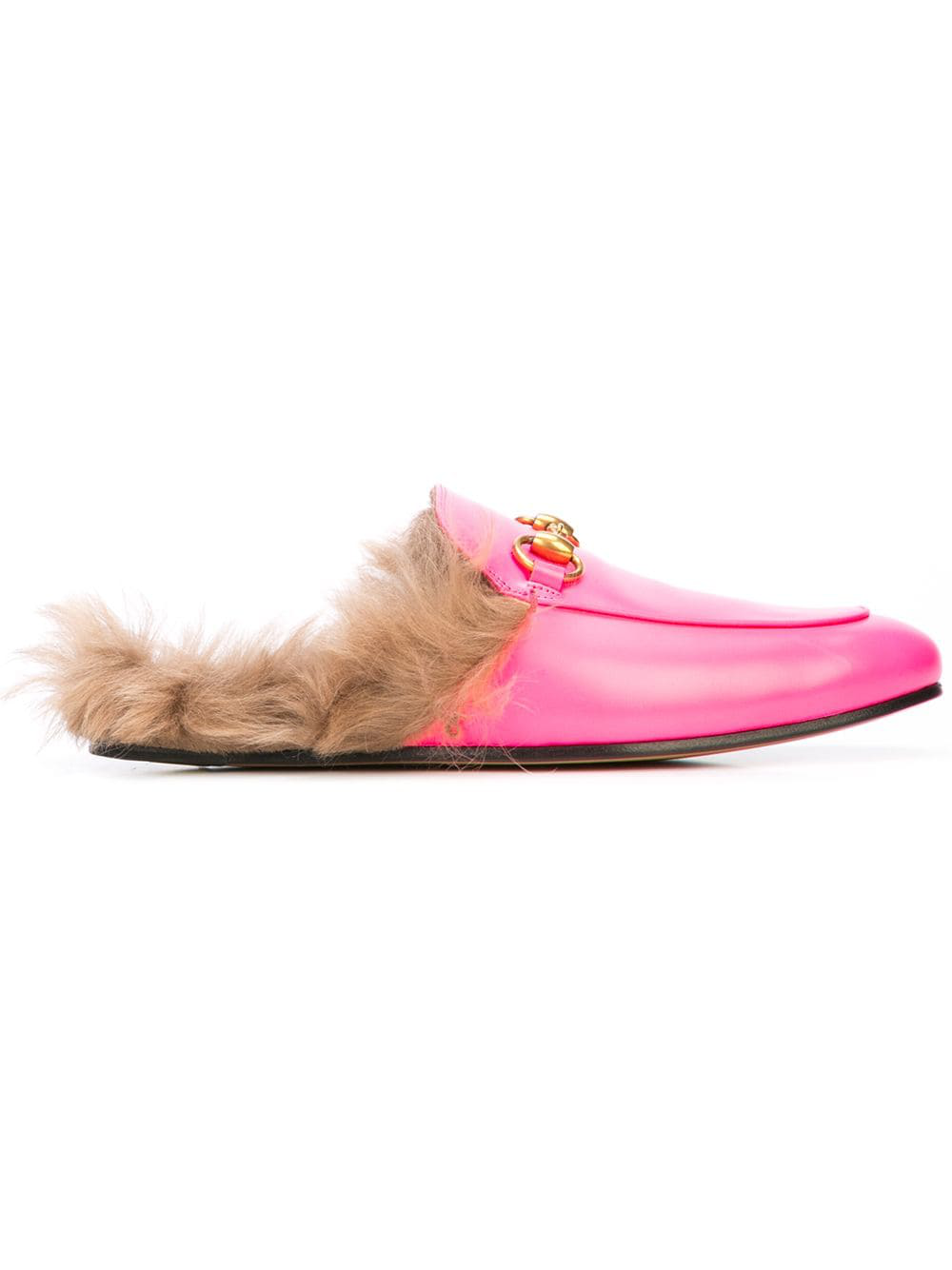 11b4051dd3c Gucci Men s Princetown Fur-Lined Fluorescent Leather Slippers In Pink