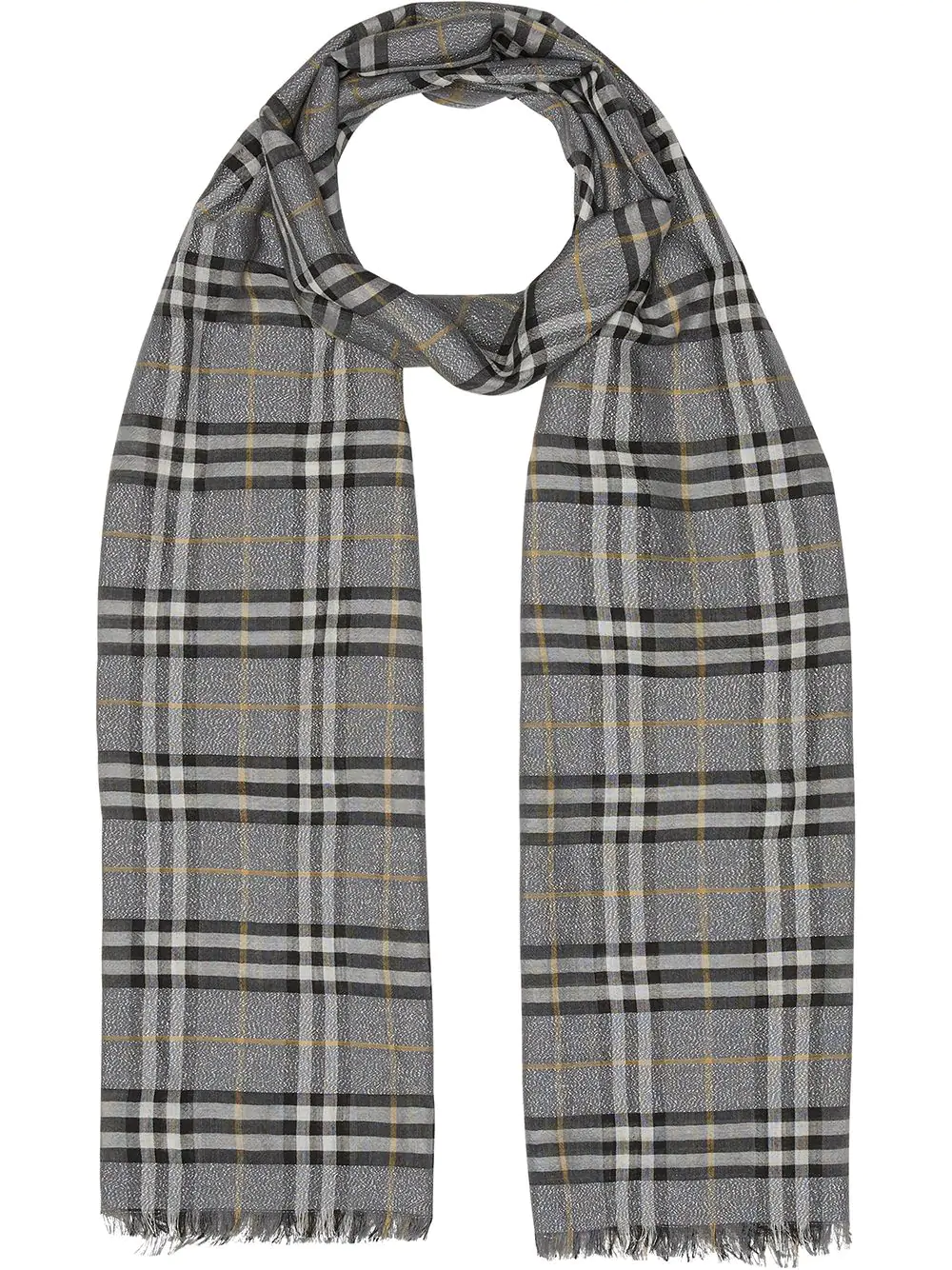 8303adf0b4 Burberry Metallic Vintage Check Wool Silk Blend Scarf In Grey | ModeSens