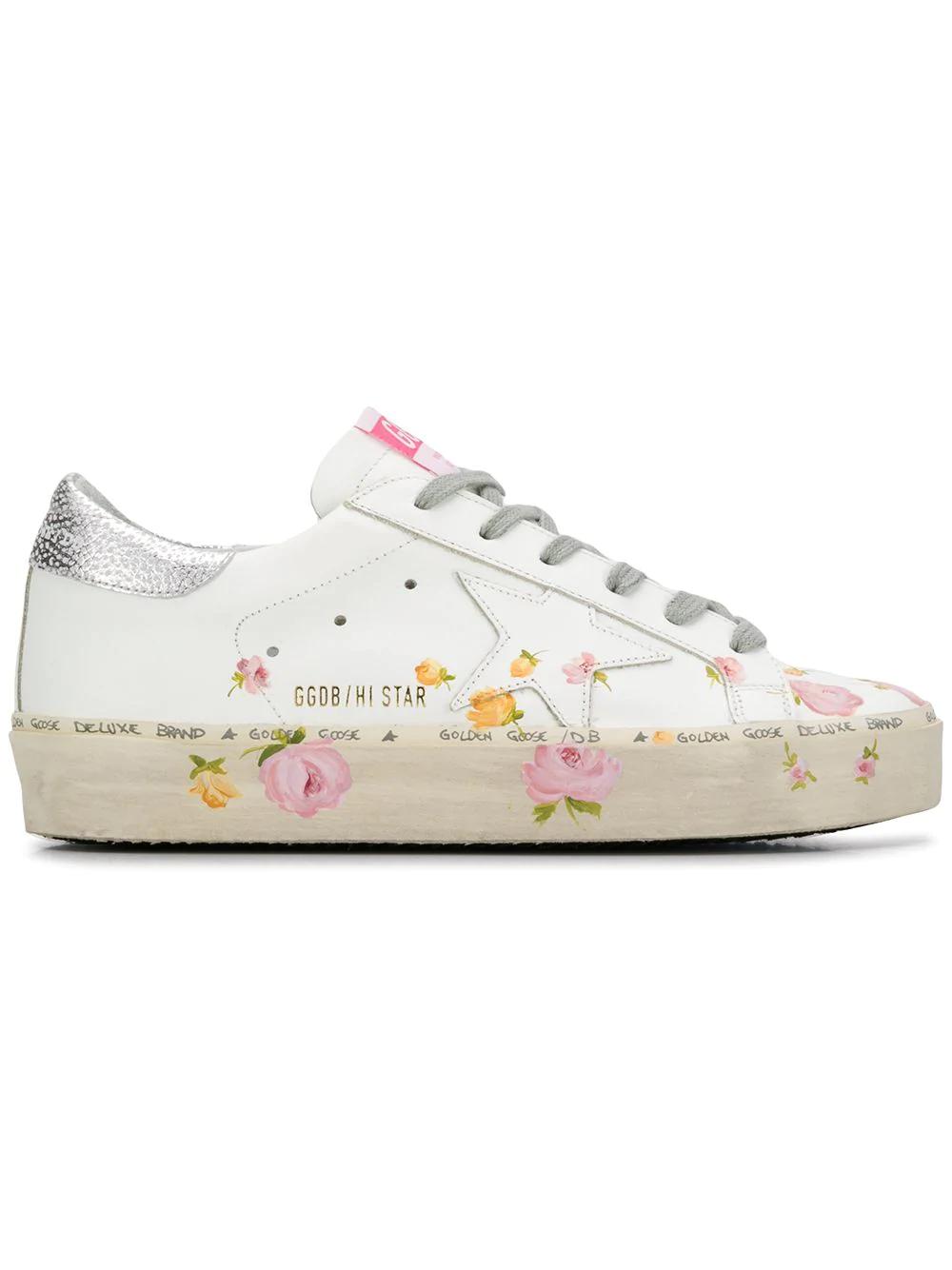 ed3df5899893 Golden Goose Hi Star Floral-Print Leather Platform Sneakers