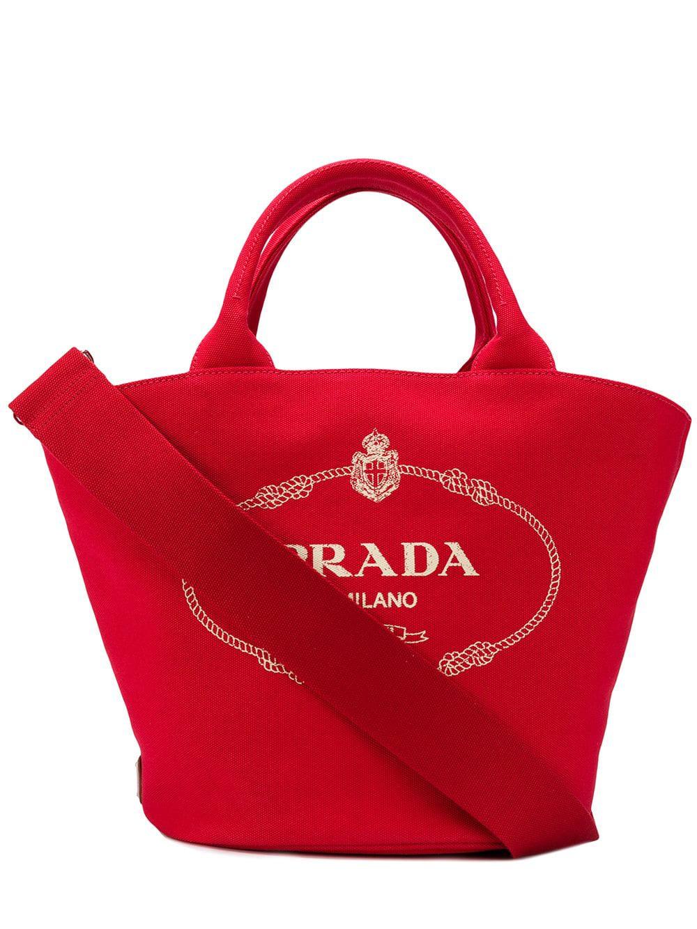 1a862bb1920e Prada Vintage Logo Shopper Bag - Red   ModeSens