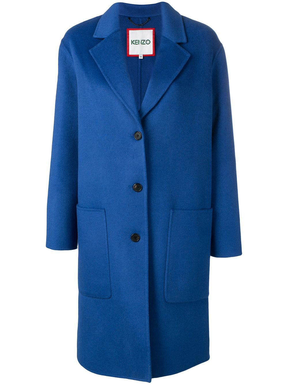 c4cc6ec7f13 Kenzo Coat With Wool And Cashmere In Blue | ModeSens