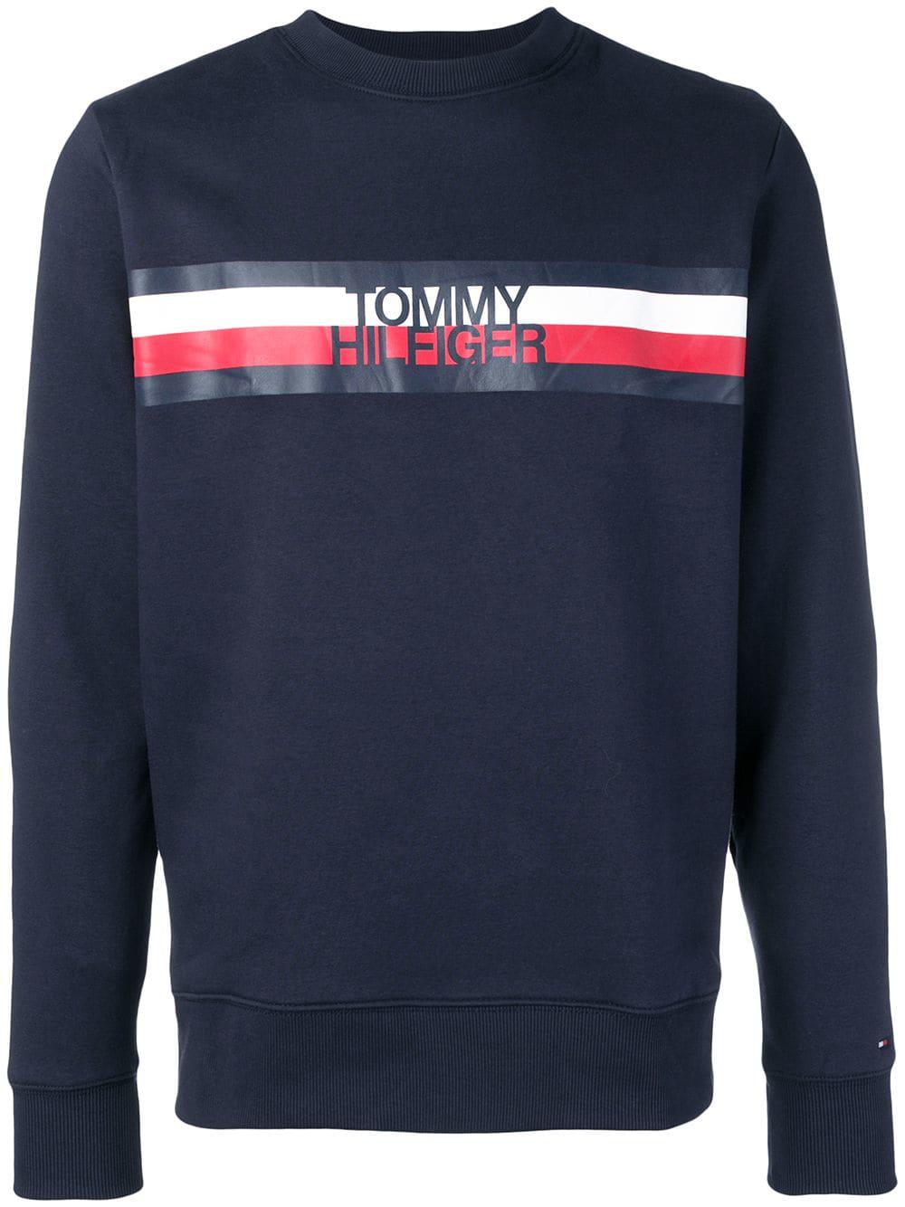 41765a93 Tommy Hilfiger Striped Logo Sweatshirt - Blue | ModeSens