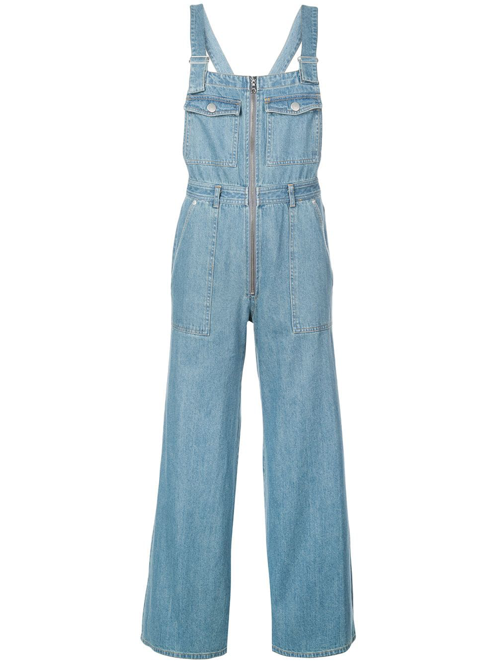 beb166b4f4 Sea Washed Denim Wide-Leg Cropped Dungarees In Blue