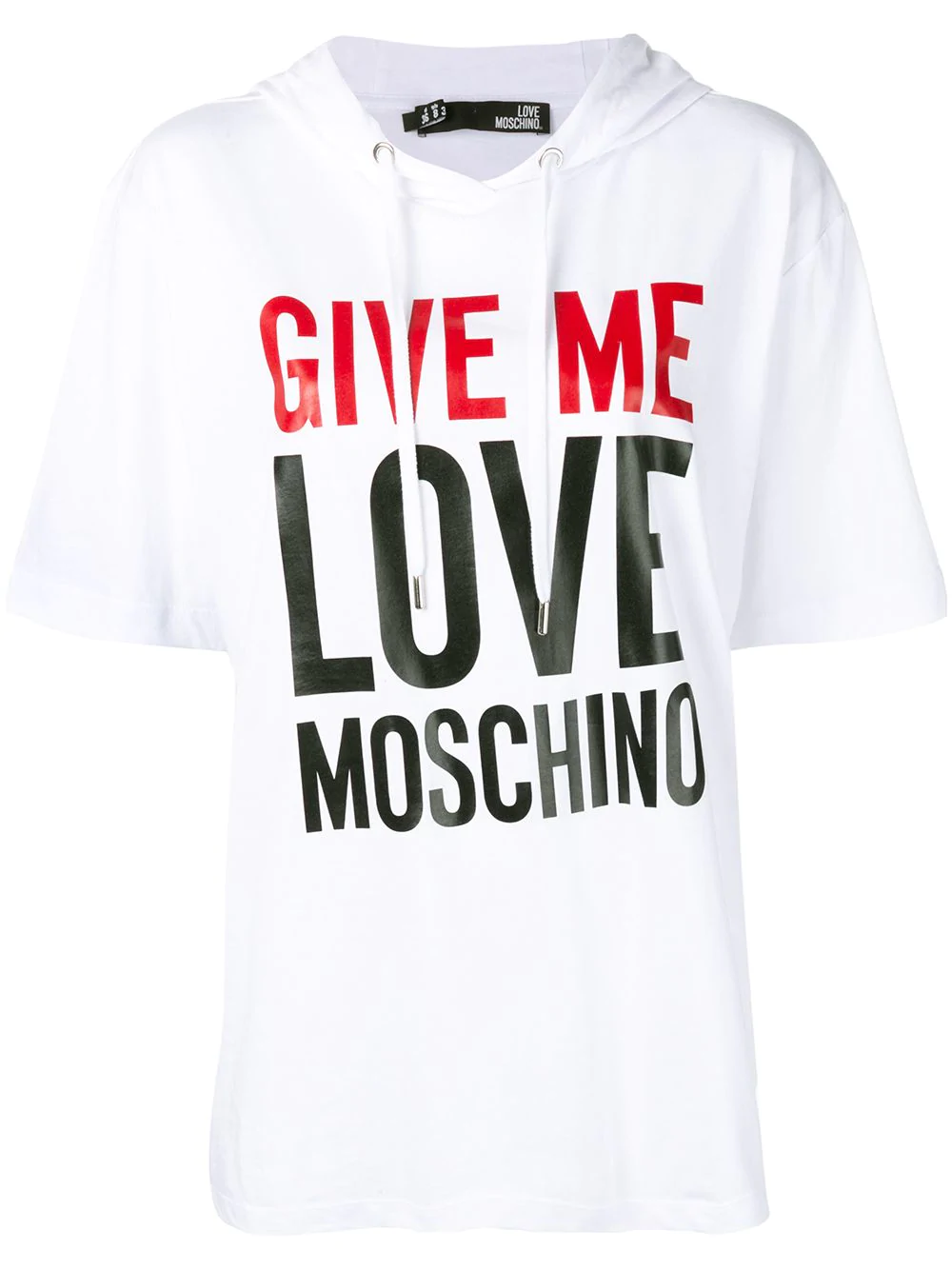 Love moschino slogan print oversized hoodie white