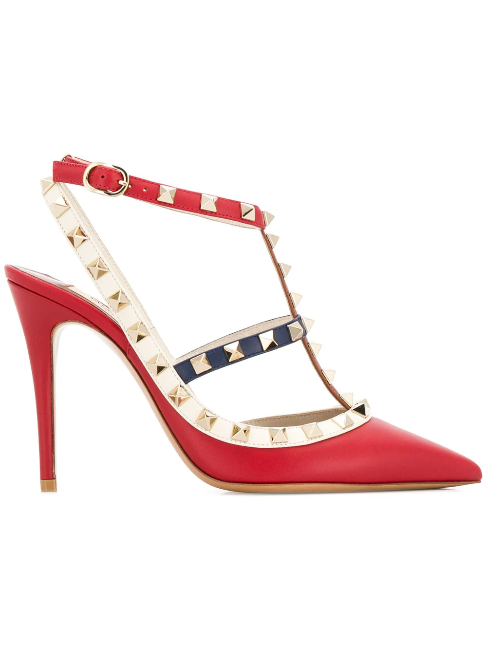 8d8c21d1916 Valentino Multicolor Rockstud Caged Pump 100Mm In Red