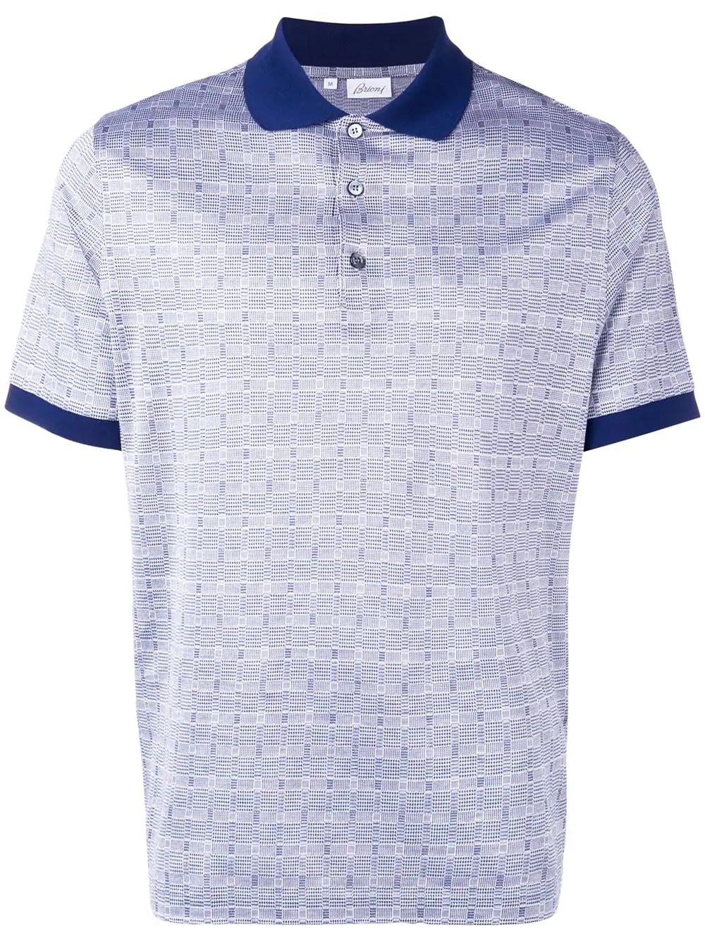 231d4adcbc1 Brioni Houndstooth Polo Shirt - Blue. Farfetch