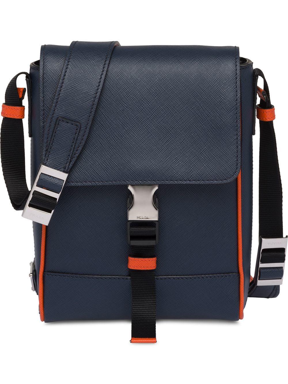 d08c96a7af7e1f Prada Saffiano Leather Shoulder Bag - Blue | ModeSens