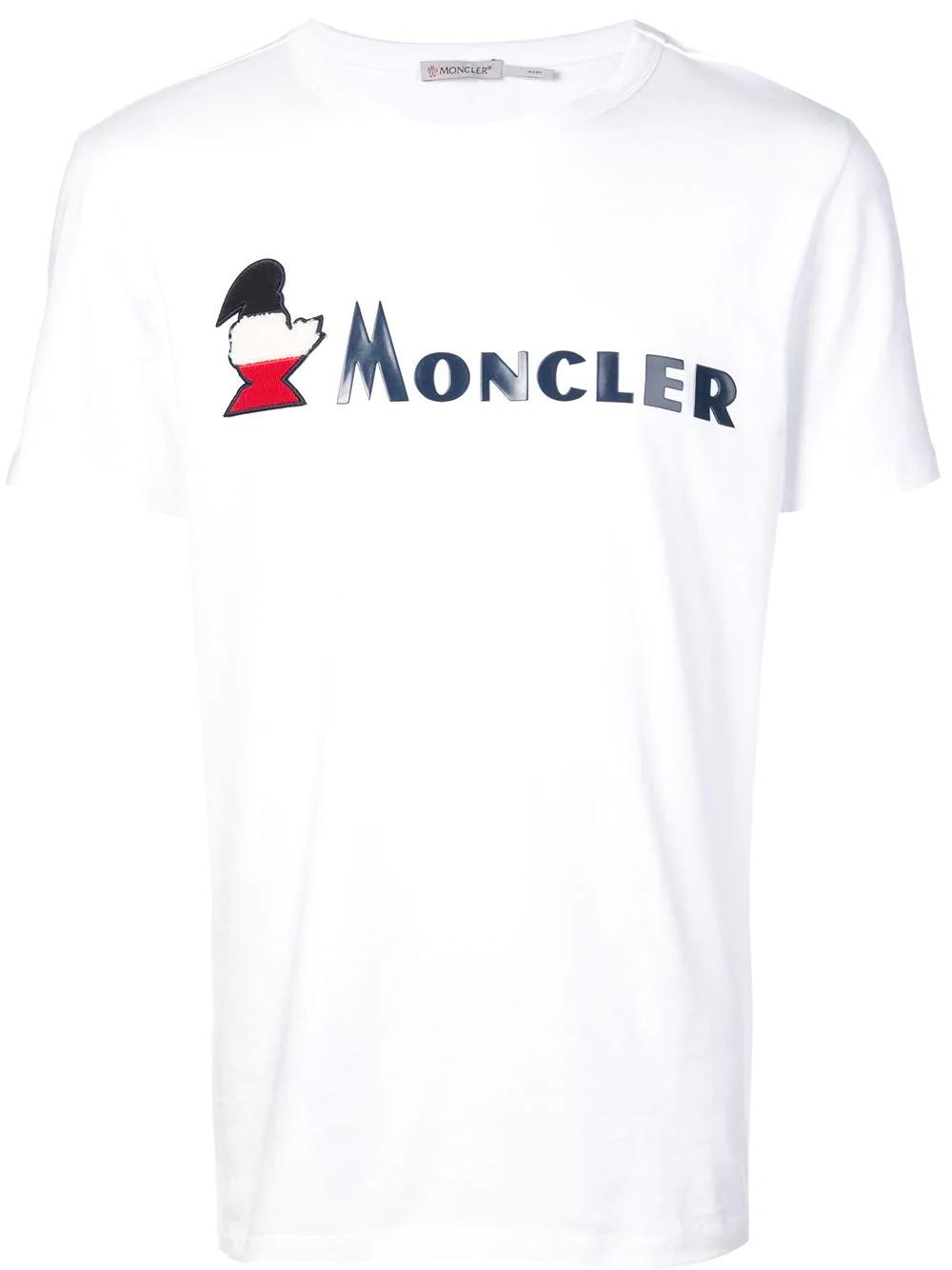 556137149 Moncler Logo Print T-Shirt - White | ModeSens