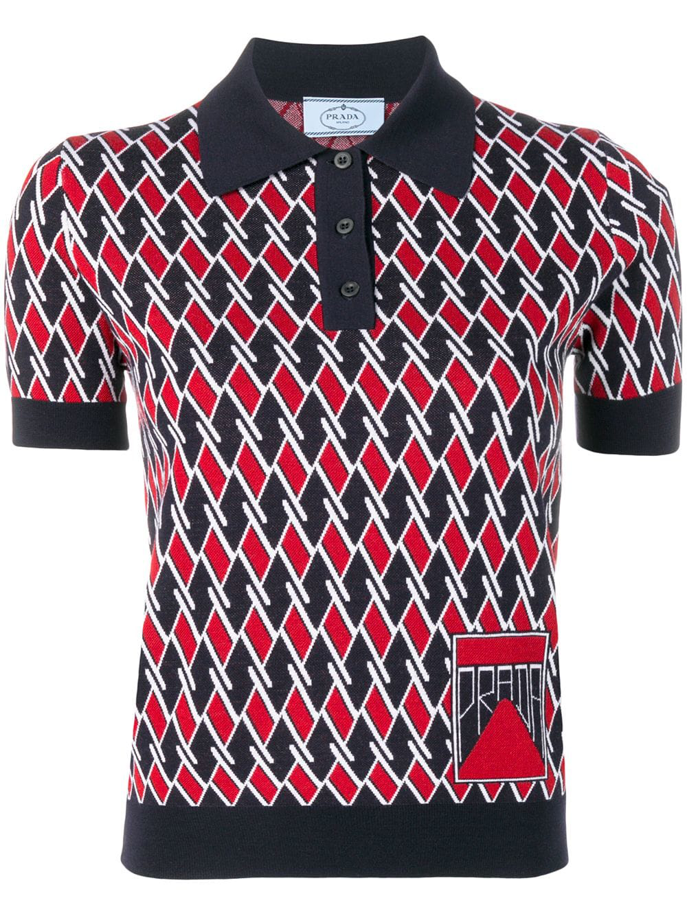 31af52c1d345d Prada Geometric Polo Shirt In Blue