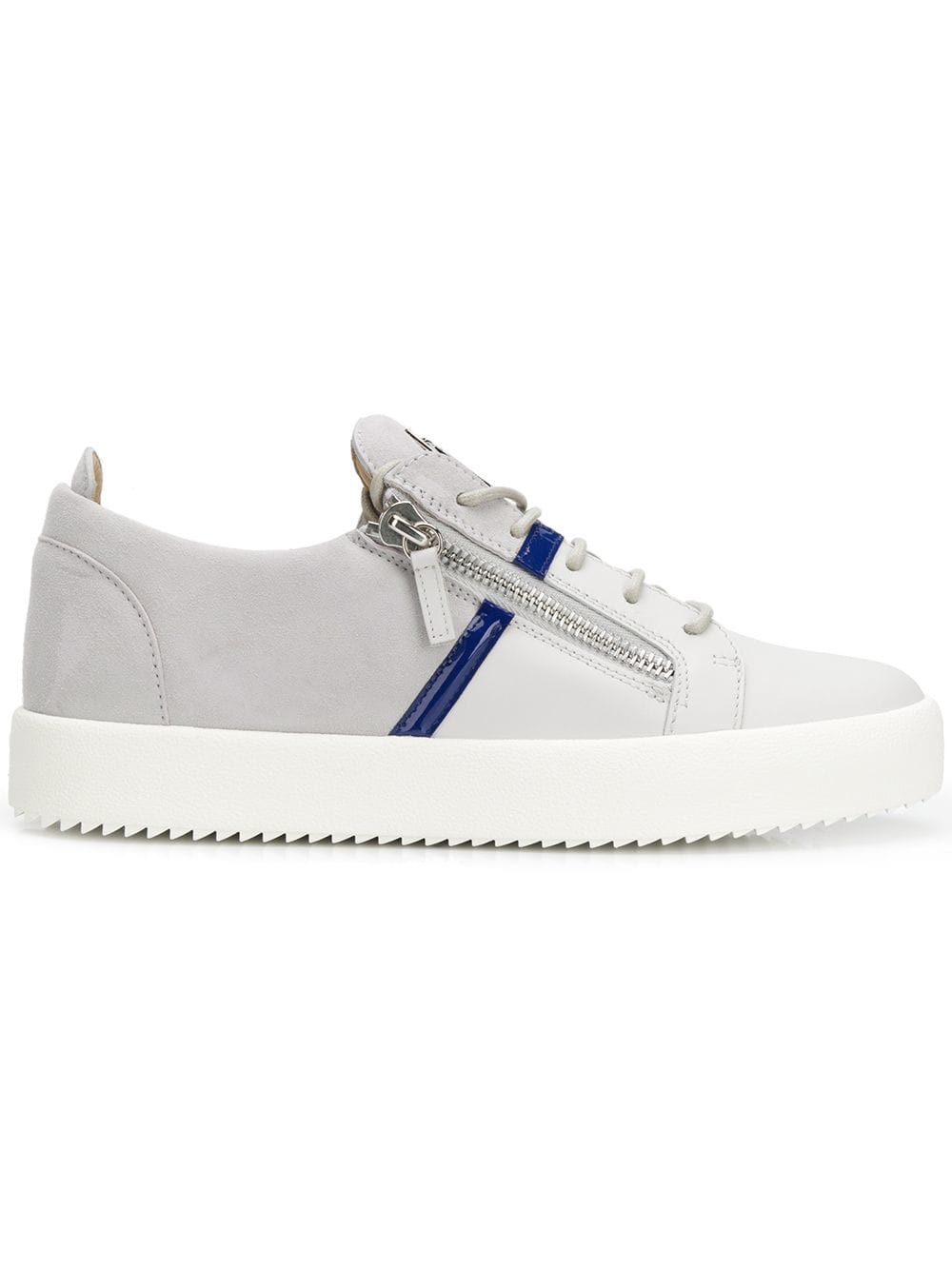 b6c4a188d3cb Giuseppe Zanotti Two-Tone Leather And Suede Trainers In Grey