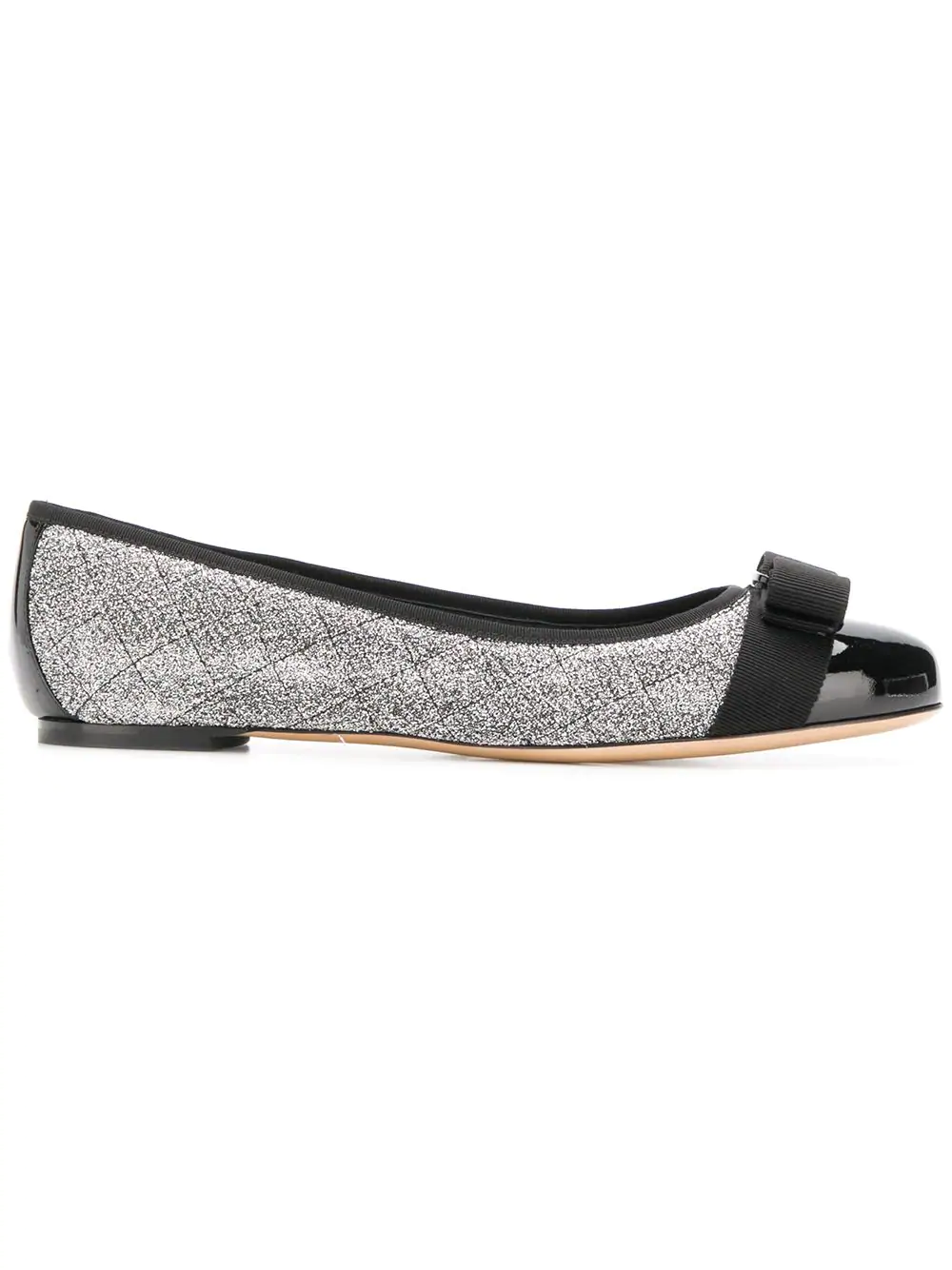 2146d766d5 Varina Quilted Silver Fabric Black Patent Ballerinas