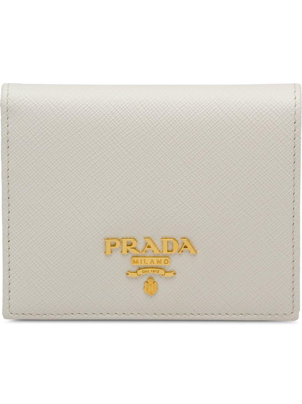 4be349d264e19c Prada Small Leather Wallet - White | ModeSens