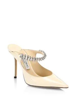 fb5843fc3d9 Jimmy Choo Bing 100 Crystal-Embellished Patent-Leather Mules In Ivory