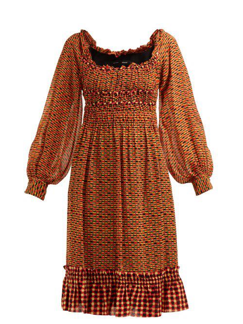 caa83c4f754b9 Proenza Schouler Square-Neck Long-Sleeve Printed Crepe Chiffon A-Line Midi  Dress