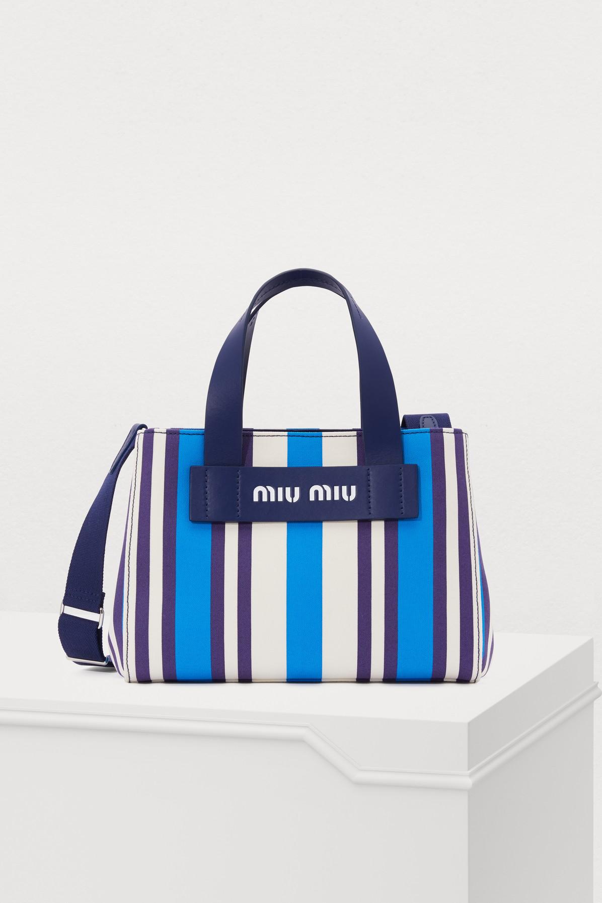 c1f64a98f031 Miu Miu Striped Hemp   Leather Small Tote Bag In Blue. 24 SÈVRES
