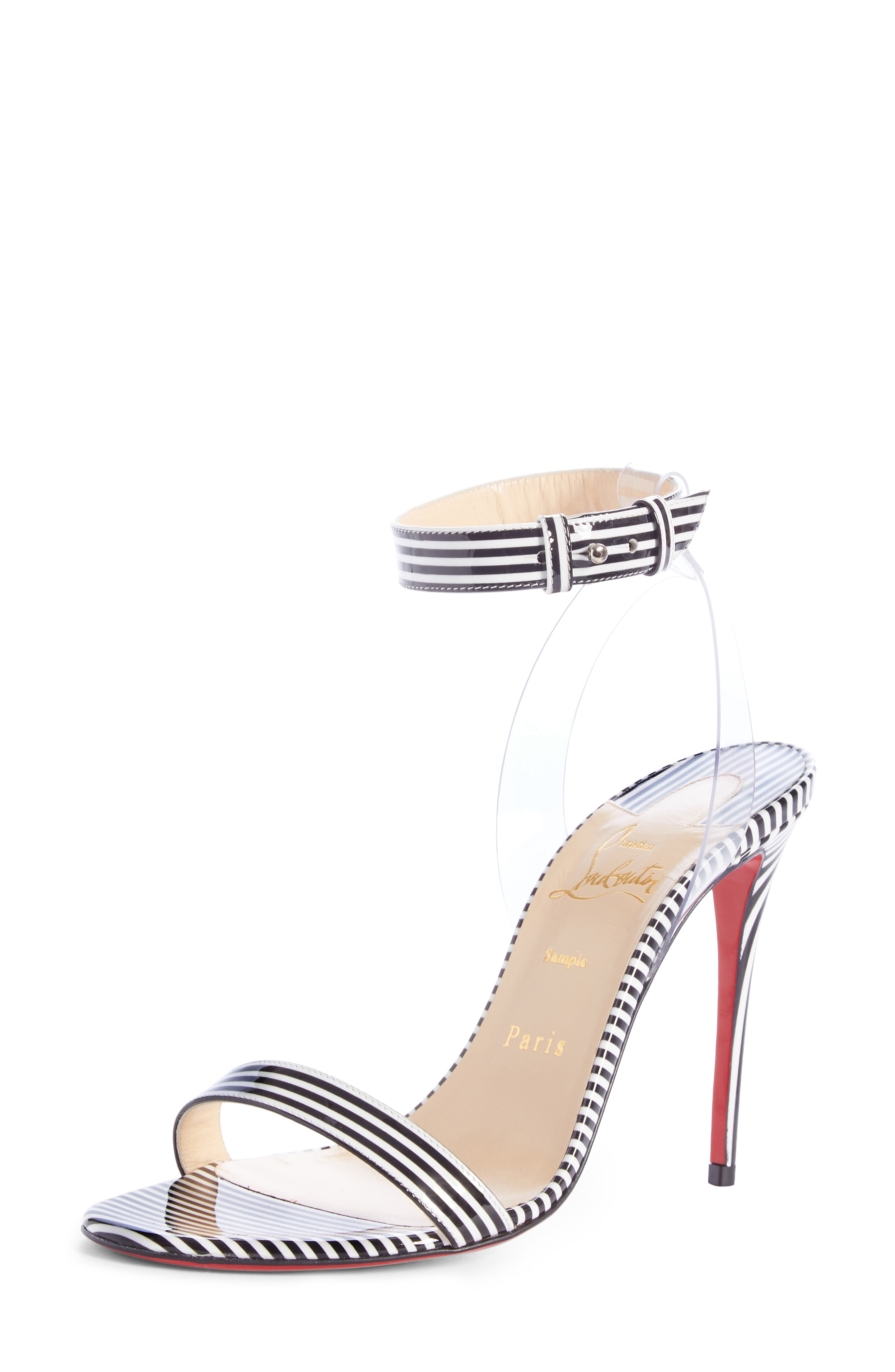 766373cf3068e0 Christian Louboutin Jonatina 100 Pvc-Trimmed Striped Patent-Leather Sandals  In Black