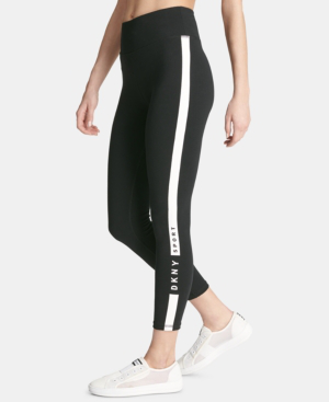 7933fcd8d51d5 Dkny Sport Logo Ankle Leggings, Created For Macy's In Black/White ...