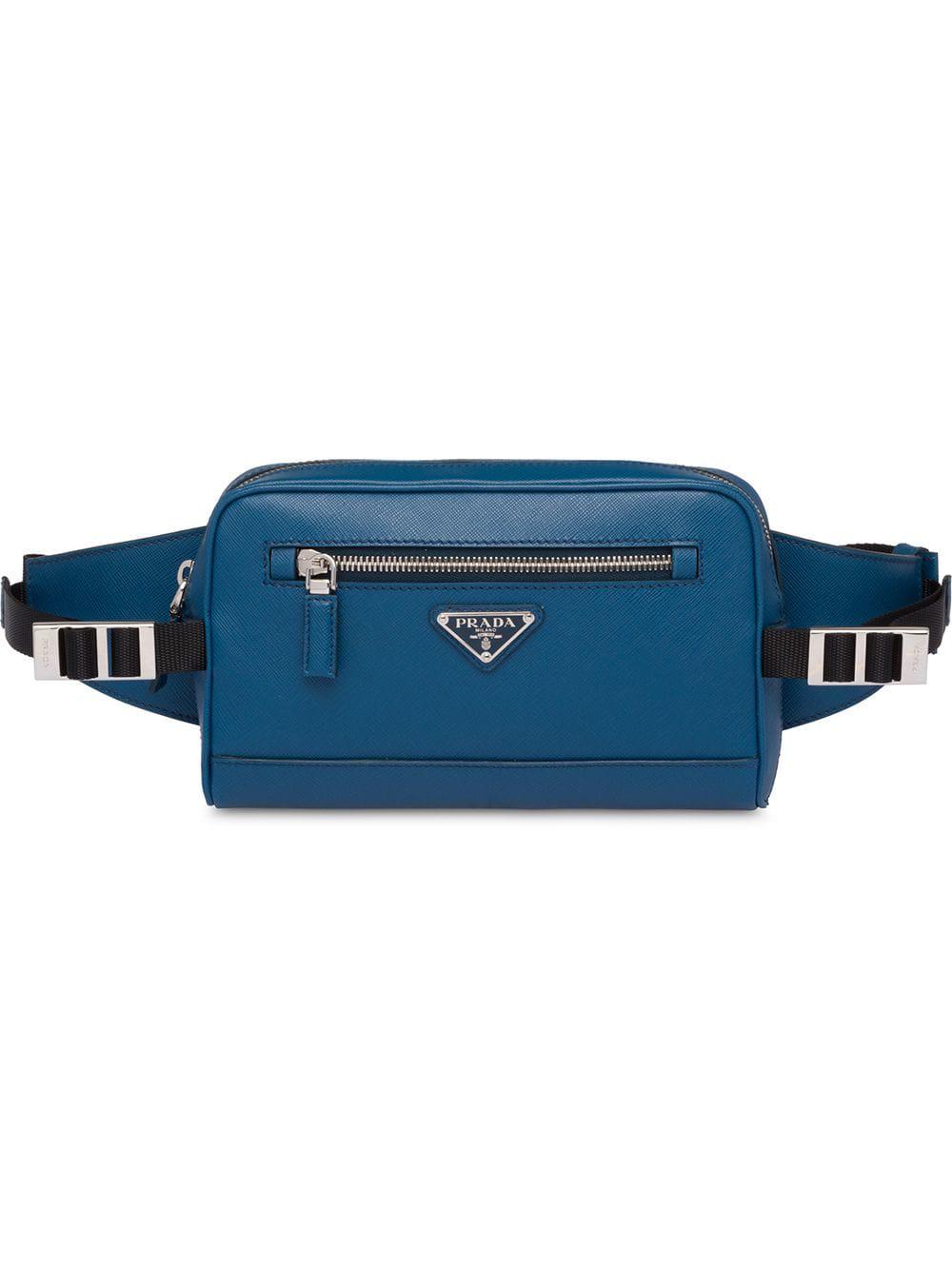 dfa8141e7564e1 Prada Saffiano Leather Belt Bag - Blue   ModeSens