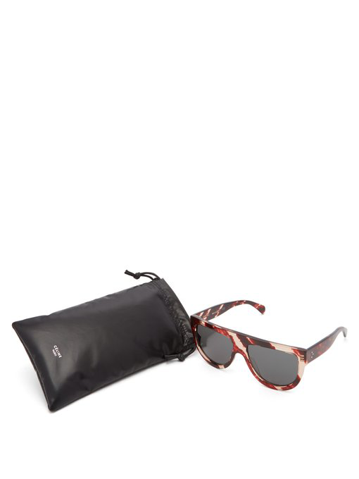 c1b0f2a8f2 Celine Shadow D-Frame Marbled Acetate Sunglasses In Red