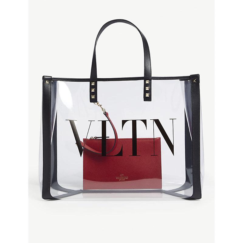 849615b08298 Valentino Grande Plage Small Pvc   Leather Tote Bag - Black