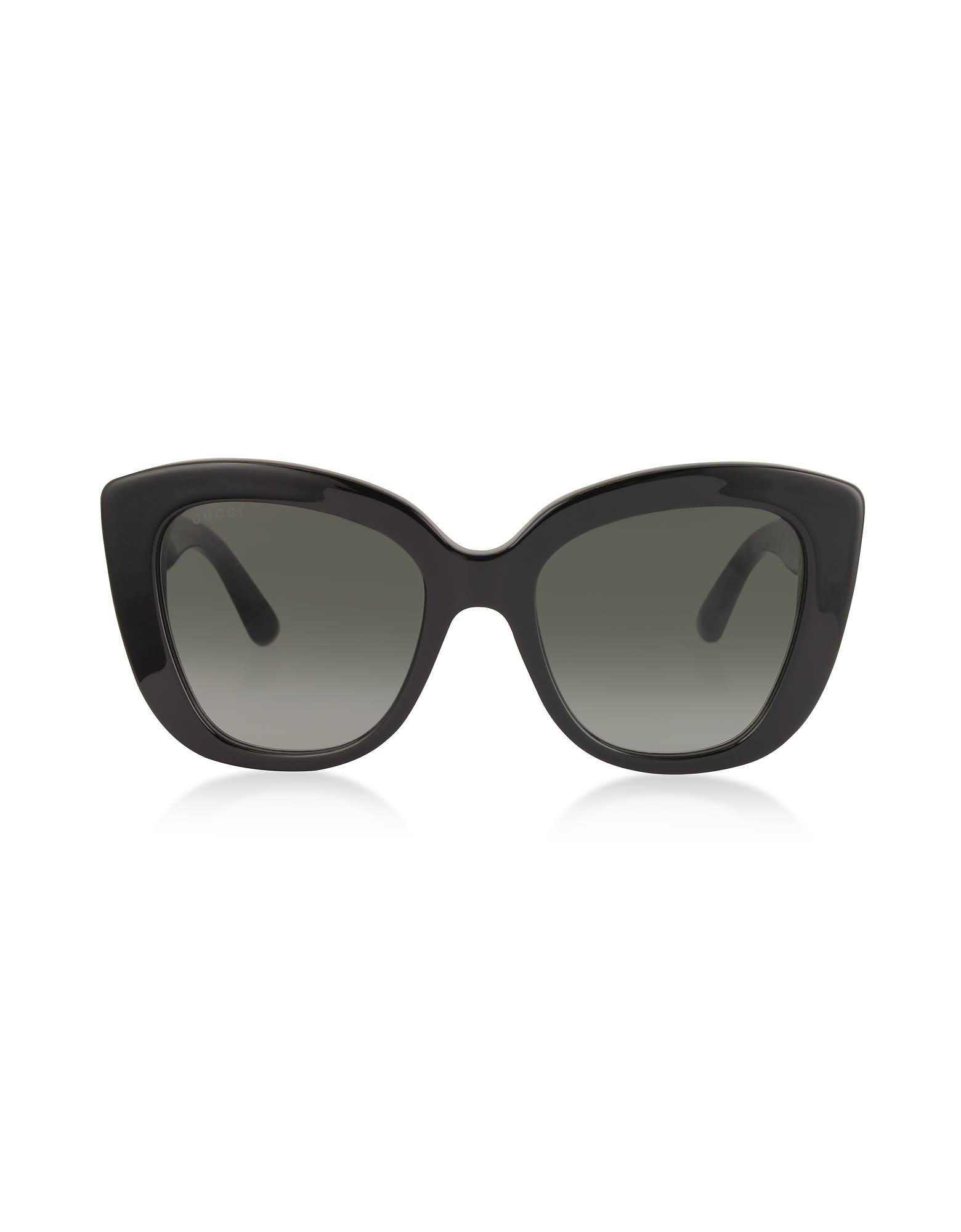 4489a1274b8 Gucci Oversized Rectangular-Frame Acetate Sunglasses In Black Gray ...