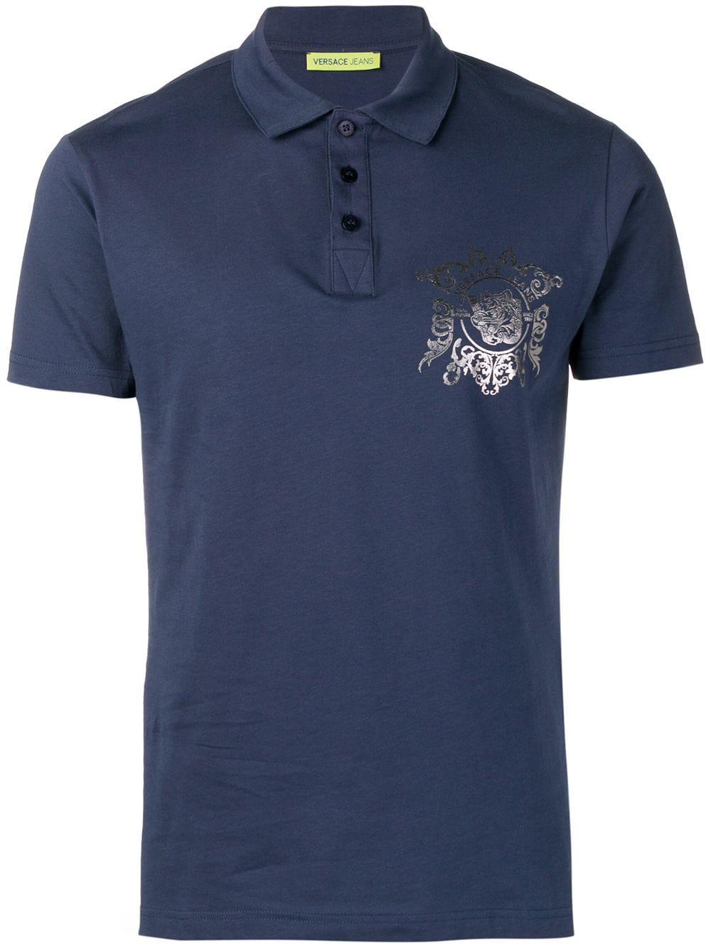01ae5b316a3b07 Versace Jeans Tiger Print Polo Shirt - Blue | ModeSens