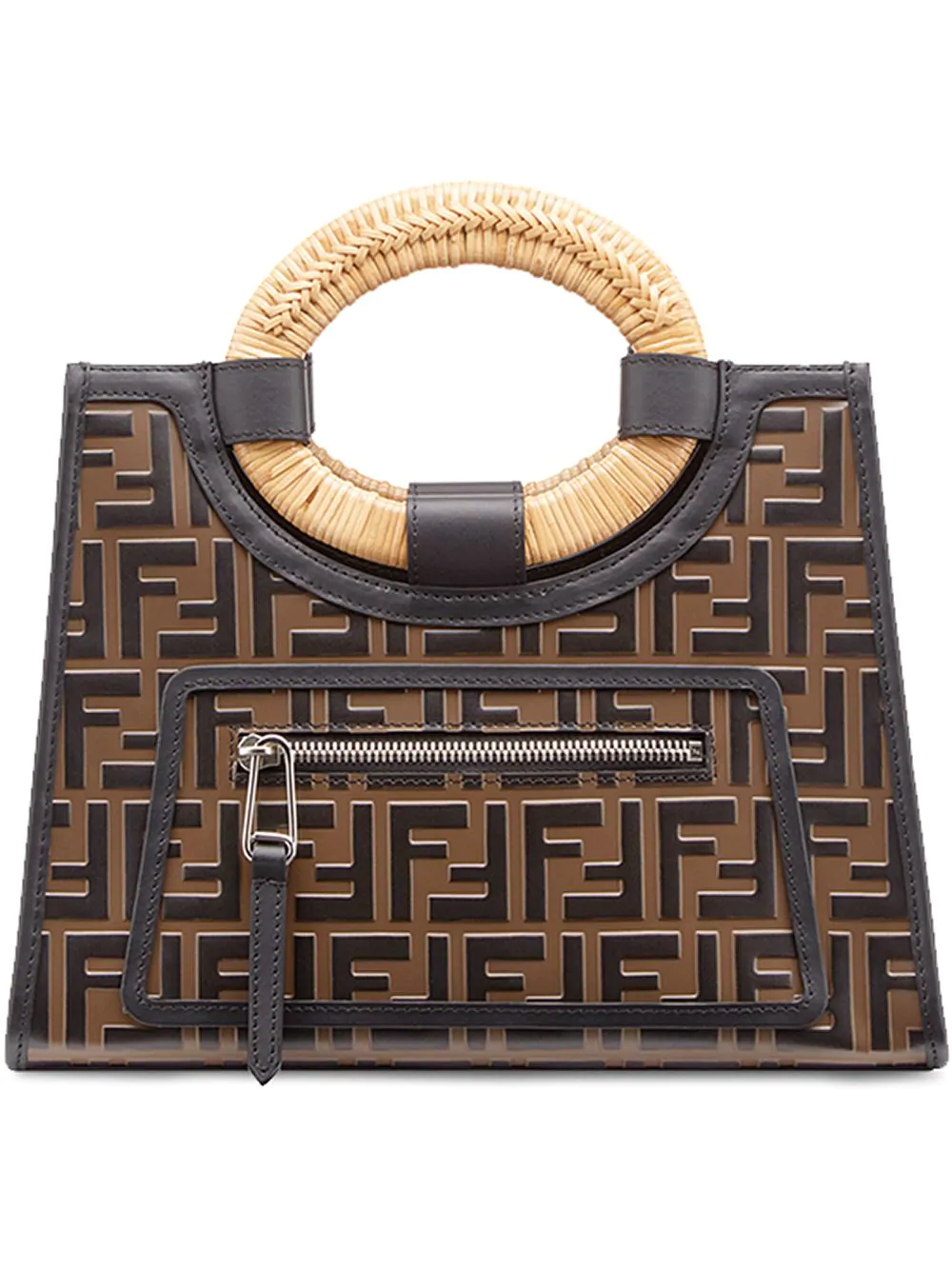 ca3fa0263cf8 Fendi Runaway Small Ff Embossed Calf Shopping Tote Bag In Brown ...