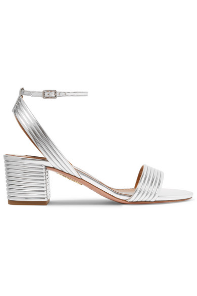 9e61b9468ab Aquazzura Sundance 50Mm Metallic Leather Block-Heel Sandals In Silver